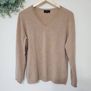 Charter Club Camel Cashmere V Neck Sweater Large